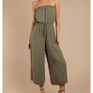 NWT Tobi Strapless Olive Jumpsuit